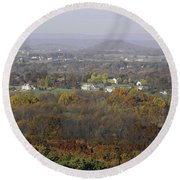 Misty Fall Pano Of The Shenandoah Valley Round Beach Towel