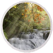 Misty Falls At Coker Creek Round Beach Towel