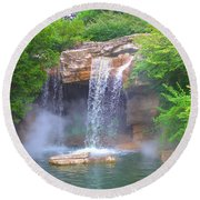 Misty Falls Round Beach Towel