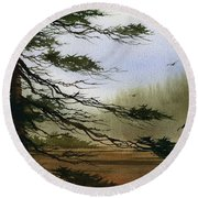 Misty Forest Bay Round Beach Towel