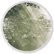 Misty Forest Round Beach Towel