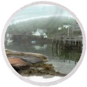 Misty Harbor Round Beach Towel
