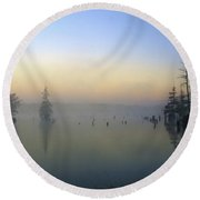 Misty Horizon  Round Beach Towel