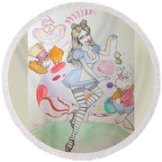 Misty Kay In Wonderland Round Beach Towel