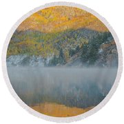 Misty Lake With Aspen Trees Round Beach Towel
