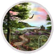 Misty Meadow Round Beach Towel