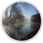 Misty Morning Along James River Round Beach Towel