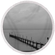 Misty Morning At The Lake Round Beach Towel