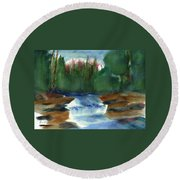 Misty Morning Brook In Hudson Valley Round Beach Towel