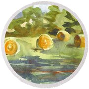 Misty Morning Gold Round Beach Towel
