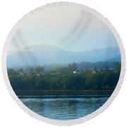 Misty Morning In Port Angeles Round Beach Towel