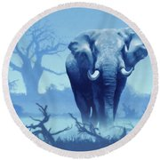 Misty Blue Morning In The Tsavo Round Beach Towel
