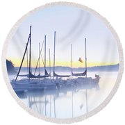 Misty Morning Sailboats Round Beach Towel