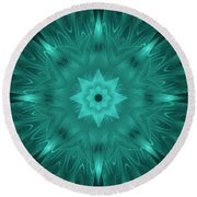 Misty Morning Star Bloom Round Beach Towel