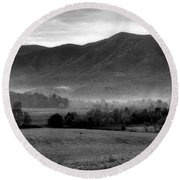 Misty Mountain Morning Round Beach Towel by Dan Sproul