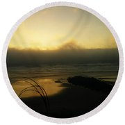 Misty Oregon Coast Round Beach Towel