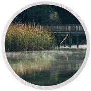 Misty Pond Round Beach Towel