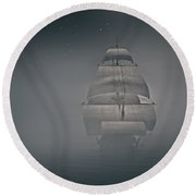 Misty Sail Round Beach Towel