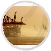Misty Seattle Waterfront Round Beach Towel