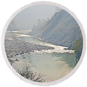 Misty Seti River Rapids In Nepal  Round Beach Towel