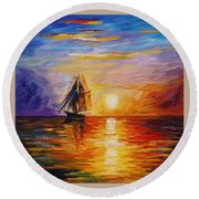 Misty Ship - Palette Knife Oil Painting On Canvas By Leonid Afremov Round Beach Towel