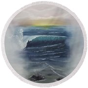 Misty Sun Set Round Beach Towel