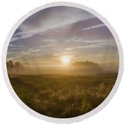 Misty Sunrise At Valley Forge Round Beach Towel