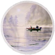 Misty Sunrise On The Lake Round Beach Towel