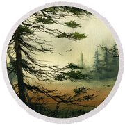 Misty Tideland Forest Round Beach Towel by James Williamson