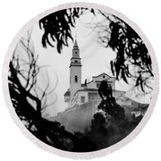 Misty View Of Monserrate Church Round Beach Towel