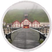 Misty View Of Victorian Pier  Redcar Round Beach Towel