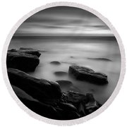 Misty Water Black And White Round Beach Towel