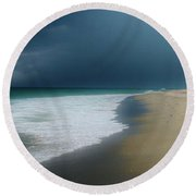 Misty Water Color Blue Too Round Beach Towel