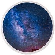 Mitchell Butte Milky Way Round Beach Towel