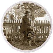 Mitchell Motorcycle Circa 1907 Round Beach Towel