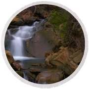 Mix Canyon Creek Round Beach Towel by Bill Gallagher