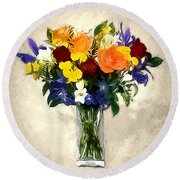 Mixed Bouquet Of Tropical Colored Flowers On Textured Vignette Oil Painting Round Beach Towel