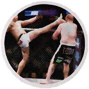 Mixed Martial Arts - A Kick To The Head Round Beach Towel