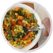 Mixed Vegetables Meal Round Beach Towel