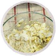 Mixing Egg Salad Ingredients Round Beach Towel