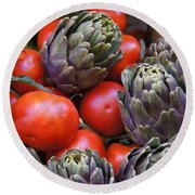 Articholes And Tomatoes Round Beach Towel