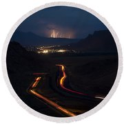 Moab Storm Round Beach Towel by Adam Romanowicz