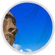 Moai And Blue Sky Round Beach Towel