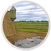 Moat And Wall Around Fortress In Louisbourg Living History Museum-ns Round Beach Towel