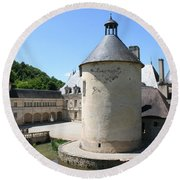 Moated Castle - Bussy Rabutin - Burgundy Round Beach Towel