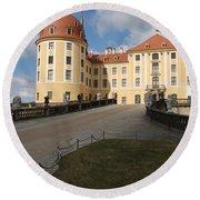 Moated Castle Moritzburg Round Beach Towel