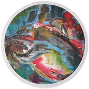 Mobie Joe The Whale-original Abstract Whale Painting Acrylic Blue Red Green Round Beach Towel