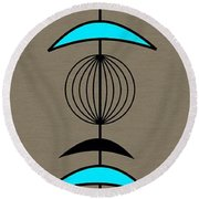 Mobile 3 In Turquoise Round Beach Towel