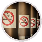 Mobile Photography Toned Row Of No Smoking Signs Round Beach Towel