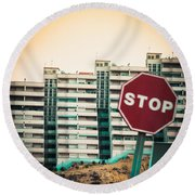 Mobile Photography Toned Stop Sign And Condo Units Round Beach Towel